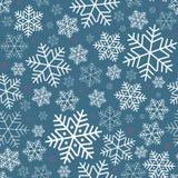 Nahtloses Muster mit festlichem Hintergrund Schneeflocken Winters auf neuem Jahr und Weihnachtsmuster für Grußkarteneinladungen lizenzfreie abbildung