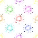 Nahtloses Muster mit Feuerwerken auf weißem Hintergrund lizenzfreie stockbilder