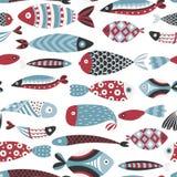 Nahtloses Muster mit Fischen Hand gezeichnete unterseeische Welt Bunter künstlerischer Hintergrund Aquarium lizenzfreie abbildung