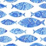 nahtloses Muster mit Fischen, handgemalter Hintergrund des Aquarells Lizenzfreie Stockbilder