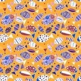 Nahtloses Muster mit Fischen stock abbildung