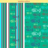 Nahtloses Muster mit Fischen und Streifen Lizenzfreie Stockbilder