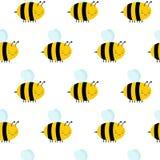 Nahtloses Muster mit Fliegen-Bienen auf einem weißen Hintergrund lizenzfreie abbildung