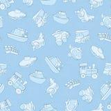 Nahtloses Muster mit Flugzeug, Flugzeug, Boot, Schiff, Hubschrauber, Würfel, Unterseeboot, Auto, LKW, Packwagen, für Kinder in de Lizenzfreies Stockfoto