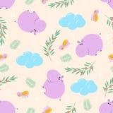 Nahtloses Muster mit Flusspferd und Vogel - Vektorillustration, ENV stock abbildung