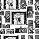 Nahtloses Muster mit Foto-Kameras Stockfotografie