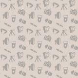 Nahtloses Muster mit Fotoausrüstung Stockfoto