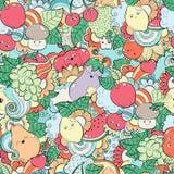 Nahtloses Muster mit Früchten, Gemüse und Beeren Schablone für das Verpacken, Postkarten, Webdesign An drucken Stockfotografie