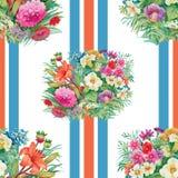 Nahtloses Muster mit Frühling blüht auf Schmutz gestreiftem buntem Hintergrund Stockfotos