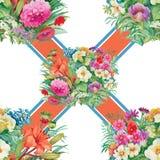 Nahtloses Muster mit Frühling blüht auf Schmutz gestreiftem buntem Hintergrund Lizenzfreies Stockfoto