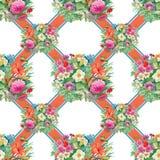 Nahtloses Muster mit Frühling blüht auf Schmutz gestreiftem buntem Hintergrund Lizenzfreies Stockbild