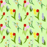 Nahtloses Muster mit Frühlingsblumen Stockfoto