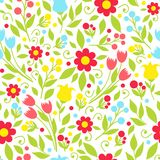 Nahtloses Muster mit Frühlingsblumen Lizenzfreies Stockbild
