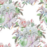 Nahtloses Muster mit Frühlingsblumen Rose chrysantheme Clematis watercolor Lizenzfreie Stockfotos