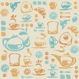 Nahtloses Muster mit Frühstückselementen. Lizenzfreies Stockfoto