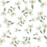 Nahtloses Muster mit frischen Waldmeisterblumen Gut für Hintergrund, Gewebe, Packpapier, Wandposter Ununterbrochene Linie DRA des vektor abbildung