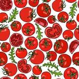 Nahtloses Muster mit ganzer roter Tomate, Cherry Tomatoes, Tomaten-Scheiben, Hälfte der Tomate und Grün-Blättern Frischgemüse Bac lizenzfreie abbildung