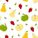 Nahtloses Muster mit ganzer und geschnittener Sommerfrucht, Blätter, Beeren Lizenzfreies Stockfoto