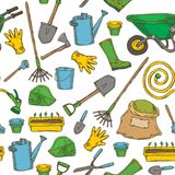 Nahtloses Muster mit Garten-Werkzeugen lizenzfreie abbildung