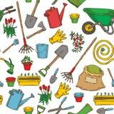 Nahtloses Muster mit Garten-Werkzeugen vektor abbildung