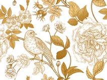 Nahtloses Muster mit Gartenblumen und -vögeln Stockfotografie