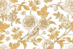Nahtloses Muster mit Gartenblumen und -vögeln Lizenzfreie Stockbilder