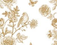 Nahtloses Muster mit Gartenblumen und -vögeln Lizenzfreie Stockfotos