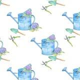 Nahtloses Muster mit Gartenwerkzeugen und -Hortensie lizenzfreie stockfotos