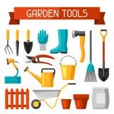 Nahtloses Muster mit Gartenwerkzeugen und -ikonen Alle für Gartenarbeitgeschäftsillustration stock abbildung