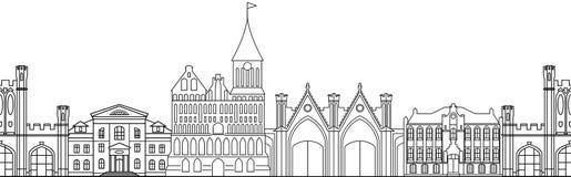 Nahtloses Muster mit Gebäude Lizenzfreie Stockfotografie