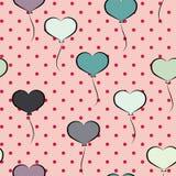Nahtloses Muster mit geformten Ballonen des Herzens Lizenzfreie Abbildung