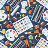 Nahtloses Muster mit Gegenständen der schönen Kunst Künstlerversorgungen wie Gipskopf, Pastell, Palette, Bürsten Vektordesignillu lizenzfreie stockbilder