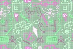 Nahtloses Muster mit Gekritzelkinderdem zeichnen Stockfotos