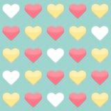 Nahtloses Muster mit gelben roten und weißen Herzen über Minze Lizenzfreie Stockfotografie