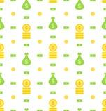 Nahtloses Muster mit Geld-Tasche, Banknoten, Münzen, flache Finanzikonen Lizenzfreie Stockfotografie