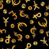 Nahtloses Muster mit Geldsymbolen Stockbilder
