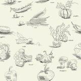Nahtloses Muster mit Gemüse Stockfotografie