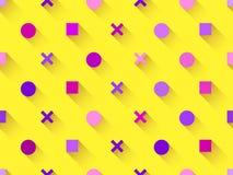 Nahtloses Muster mit geometrischen Formen, Quadrat, Kreis mit Schatten auf einem gelben Hintergrund Purpur, Burgunder und Rosa Ve Stockfoto