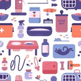 Nahtloses Muster mit Geschäft- für Haustiere oder Speicherprodukten oder Waren für Katzen und Hunde auf weißem Hintergrund Hinter vektor abbildung