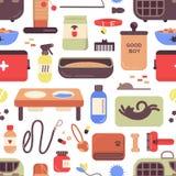 Nahtloses Muster mit Geschäft- für Haustierewaren für Katzen und Hunde auf weißem Hintergrund Hintergrund mit Einzelteilen für Ha lizenzfreie abbildung