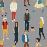 Nahtloses Muster mit Geschäftsleuten Gehen Karikaturartillustration mit Männern und Frau stock abbildung