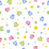 Nahtloses Muster mit Geschenkboxen, Aquarell Stockbilder