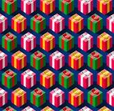 Nahtloses Muster mit Geschenkboxen für Feiertage Lizenzfreies Stockfoto