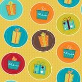 Nahtloses Muster mit Geschenkkästen Stockfotos