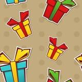 Nahtloses Muster mit Geschenkkästen Stockbilder
