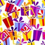 Nahtloses Muster mit Geschenkkästen Lizenzfreie Stockfotos