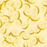 Nahtloses Muster mit geschnittenen Bananen Stockbilder