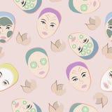 Nahtloses Muster mit Gesichtern Lizenzfreies Stockfoto