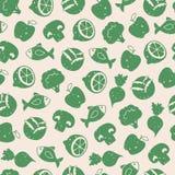 Nahtloses Muster mit gesunden Lebensmittelikonen Stockbild