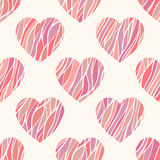 Nahtloses Muster mit gewellten Herzen. Stockfotografie